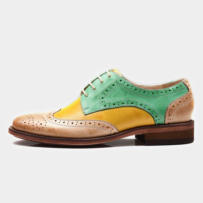 Buy Beau Contrast Color Oxford Gradient Sole Green Lace Ups online, shop Beau with free shipping