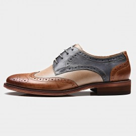 Beau Contrast Color Oxford Gradient Sole Grey Lace Ups (21025)