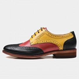 Beau Contrast Color Oxford Gradient Sole Yellow Lace Ups (21025)