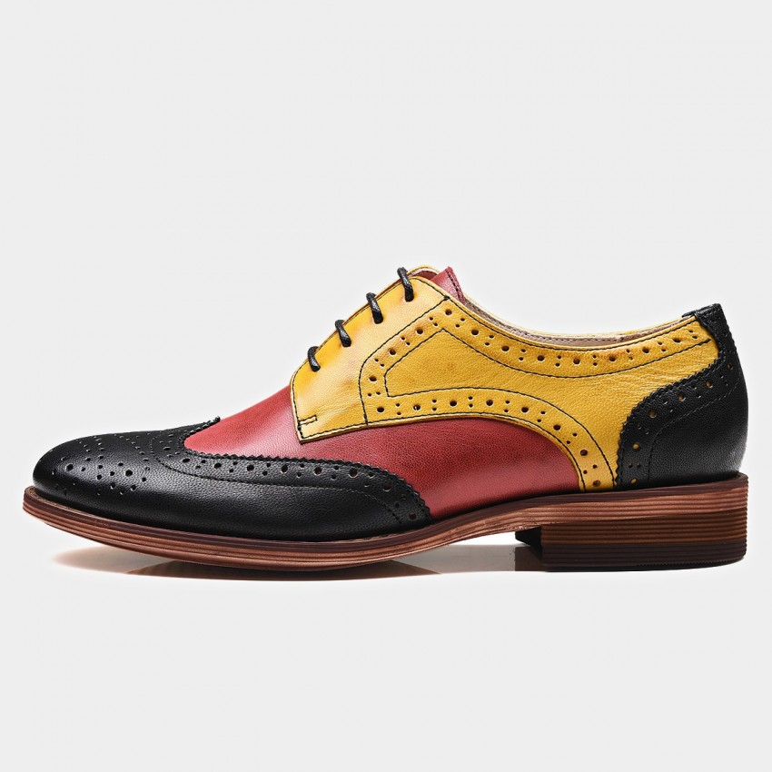 Buy Beau Contrast Color Oxford Gradient Sole Yellow Lace Ups online, shop Beau with free shipping