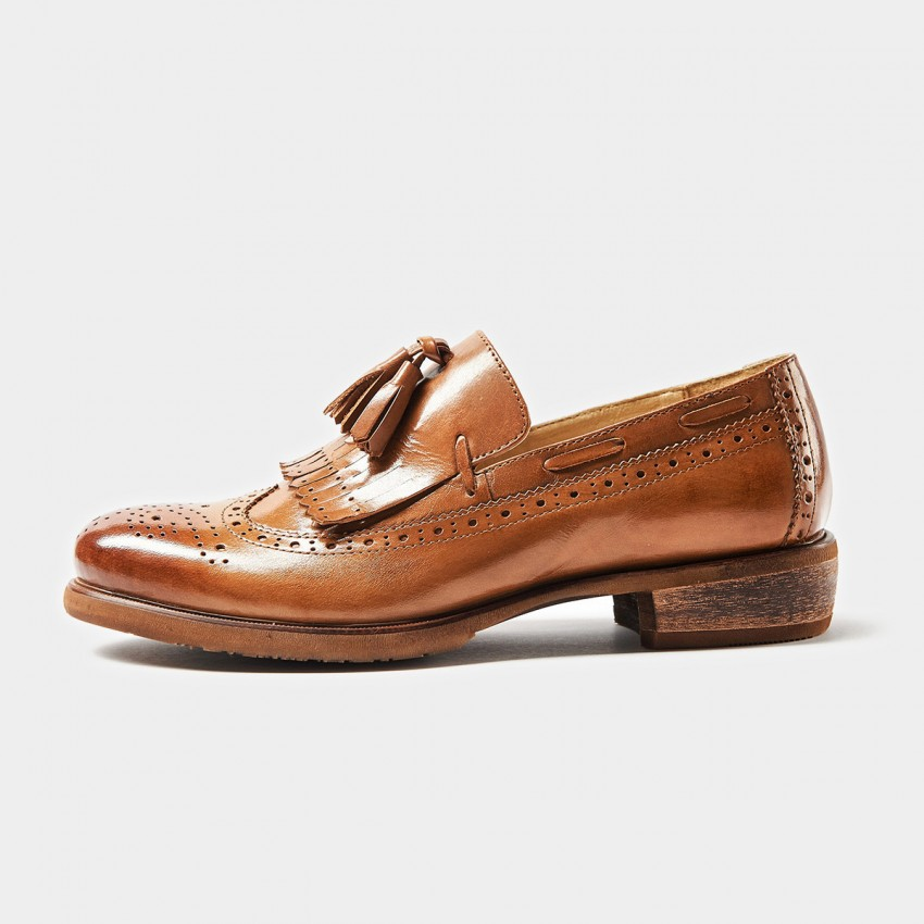 Beau Tassel Oxford Wood Grain Heel Brown Loafers (21035)