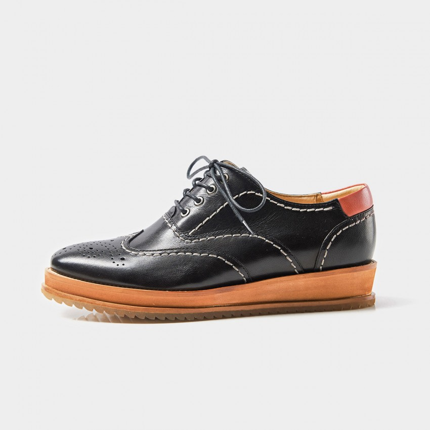 Buy Beau Oxford Contrasting Topstitch Wood Textured Sole Black Lace Ups online, shop Beau with free shipping