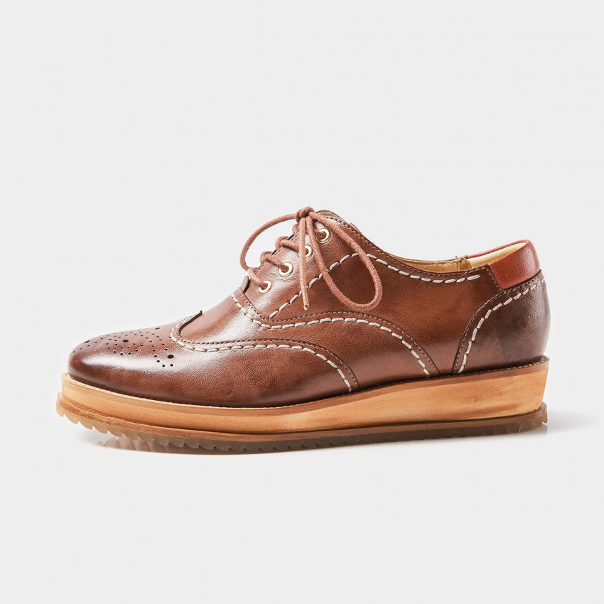 Buy Beau Oxford Contrasting Topstitch Wood Textured Sole Brown Lace Ups online, shop Beau with free shipping