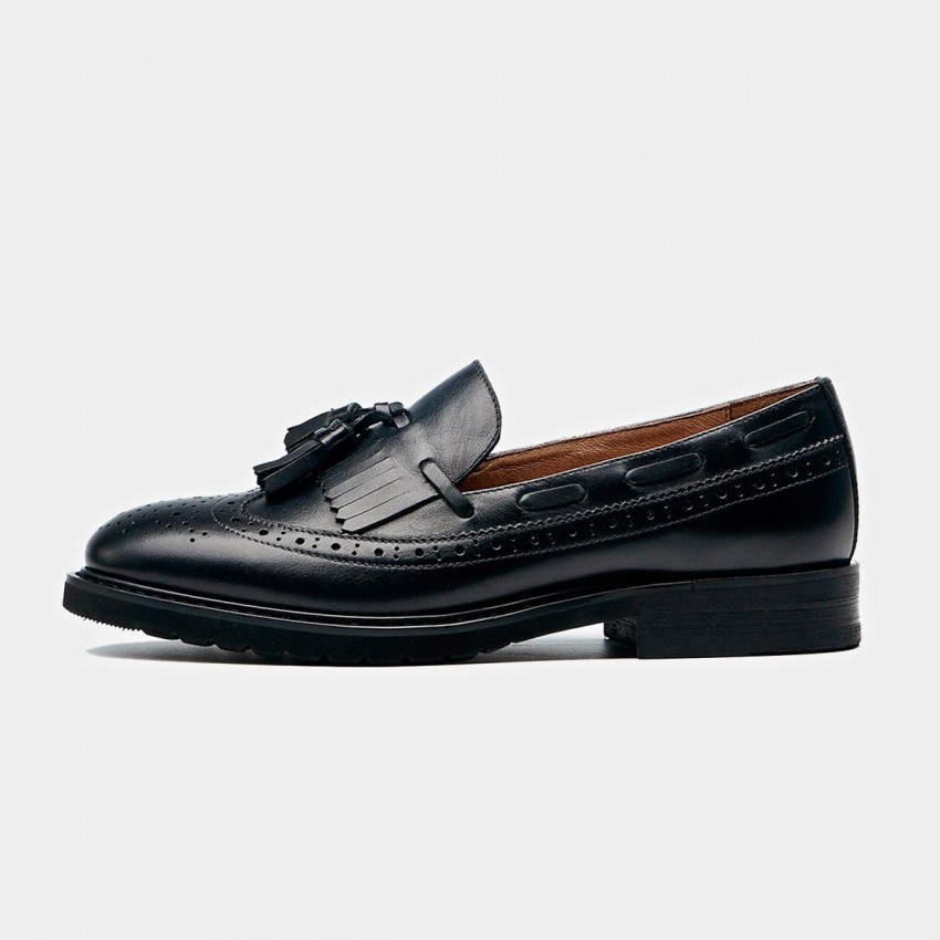 Buy Beau Vintage Tassel Stitching Brogued Black Loafers online, shop Beau with free shipping