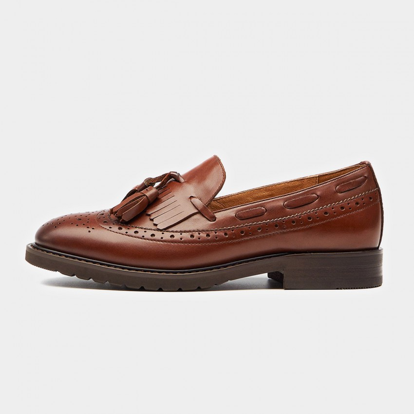 Beau Vintage Tassel Stitching Brogued Brown Loafers (21046)