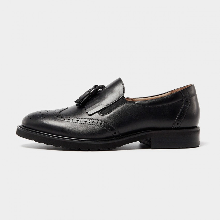 Buy Beau Vintage Tassel Elastic Brogued Black Loafers online, shop Beau with free shipping