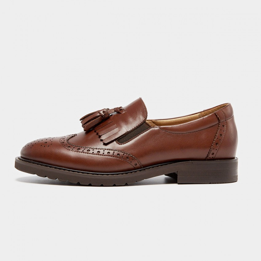 Buy Beau Vintage Tassel Elastic Brogued Brown Loafers online, shop Beau with free shipping