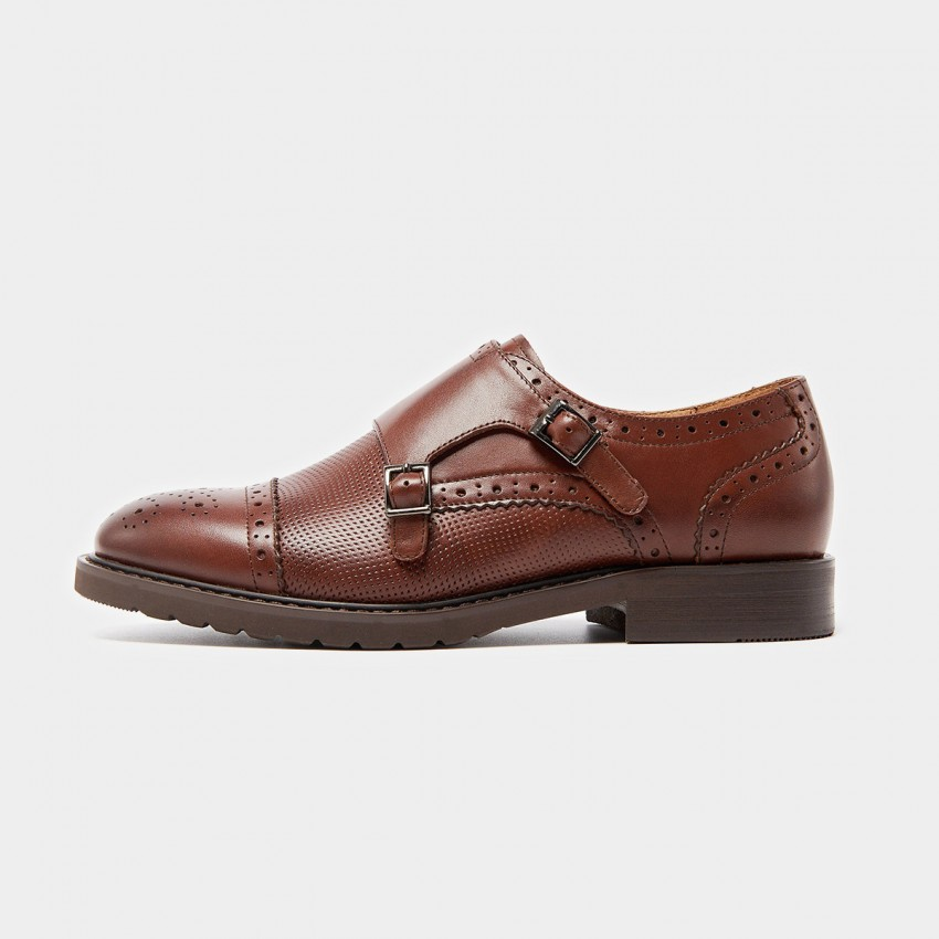 Buy Beau Semi-Brogue Double Monkstrap Brown Pumps online, shop Beau with free shipping