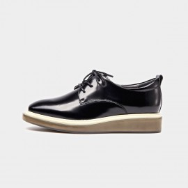 Beau Plain Toe Oxford Contrasting Sole Black Lace Ups (21057)