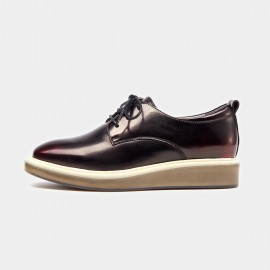 Beau Plain Toe Oxford Contrasting Sole Wine Lace Ups (21057)