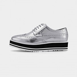 Beau Modern Oxford Layer Sole Silver Lace Ups (21059)