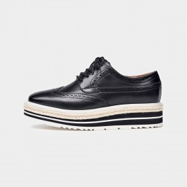 Beau Casual Oxford Layer Sole Black Lace Ups (21060)