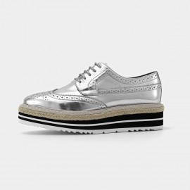 Beau Casual Oxford Layer Sole Silver Lace Ups (21060)