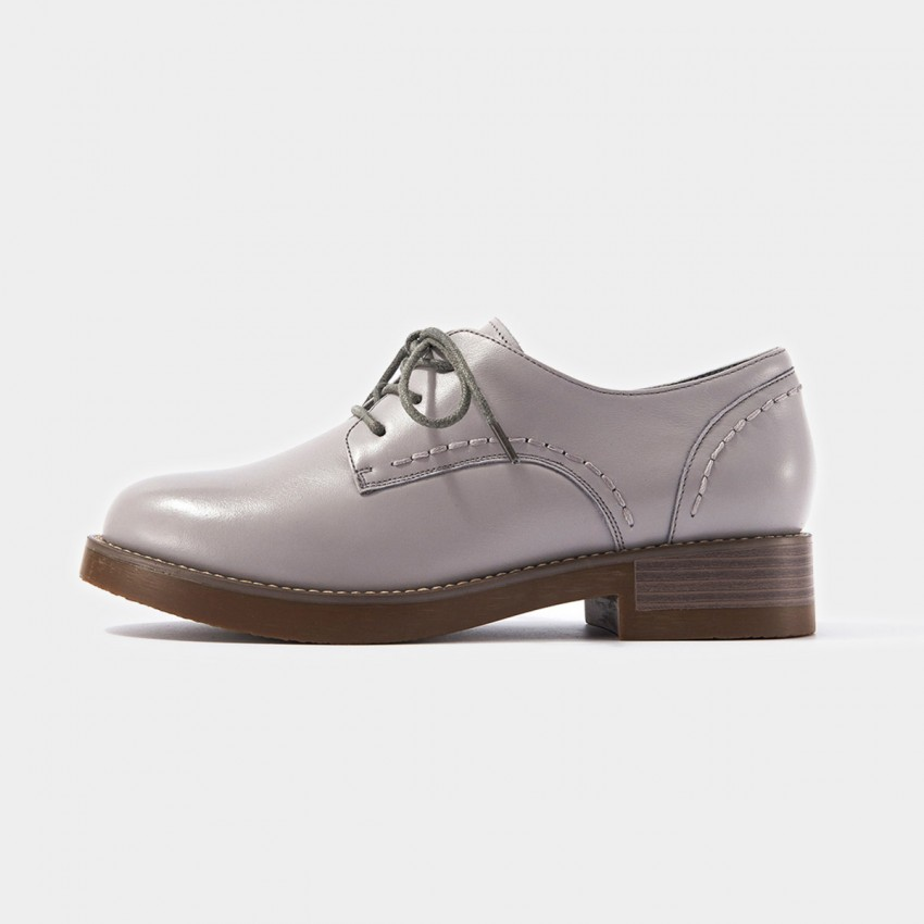 Buy Beau Plain Oxford Top Stitch Details Grey Lace Ups online, shop Beau with free shipping