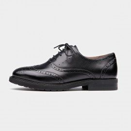 Beau Classic Wingtip Oxford Black Lace Ups (21069)