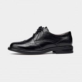 Beau Wingtip Oxford Layer Sole Black Lace Ups (21086)
