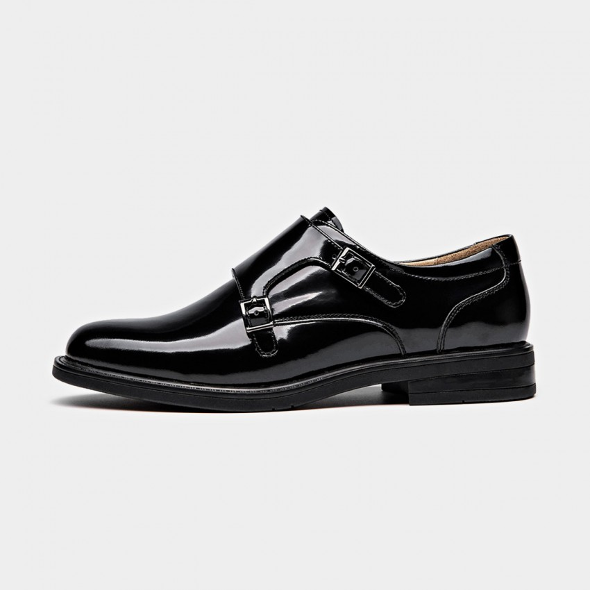 Buy Beau Glossy Double Monkstrap Black Pumps online, shop Beau with free shipping