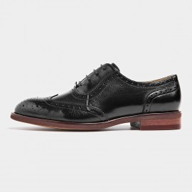 Beau Textured Leather Contrasting Sole Black Lace Ups (21094)