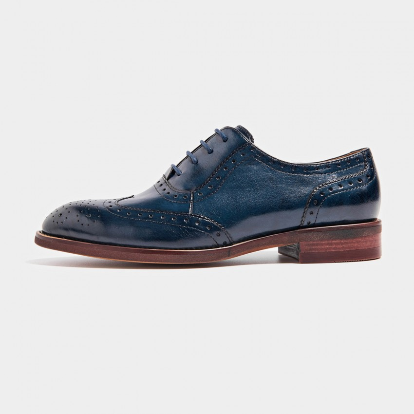 Buy Beau Textured Leather Contrasting Sole Blue Lace Ups online, shop Beau with free shipping