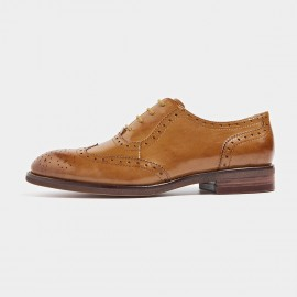 Beau Textured Leather Contrasting Sole Brown Lace Ups (21094)