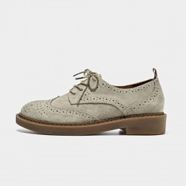 Beau Suede Oxford Rubber Sole Beige Lace Ups (21095)