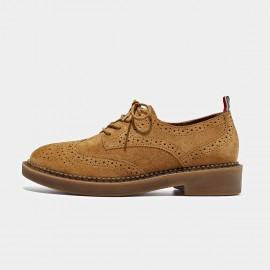Beau Suede Oxford Rubber Sole Camel Lace Ups (21095)