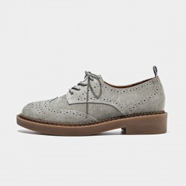 Beau Suede Oxford Rubber Sole Grey Lace Ups (21095)