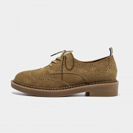 Beau Suede Oxford Rubber Sole Khaki Lace Ups (21095)