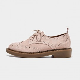 Beau Suede Oxford Rubber Sole Pink Lace Ups (21095)