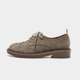 Beau Suede Oxford Rubber Sole Tan Lace Ups (21095)