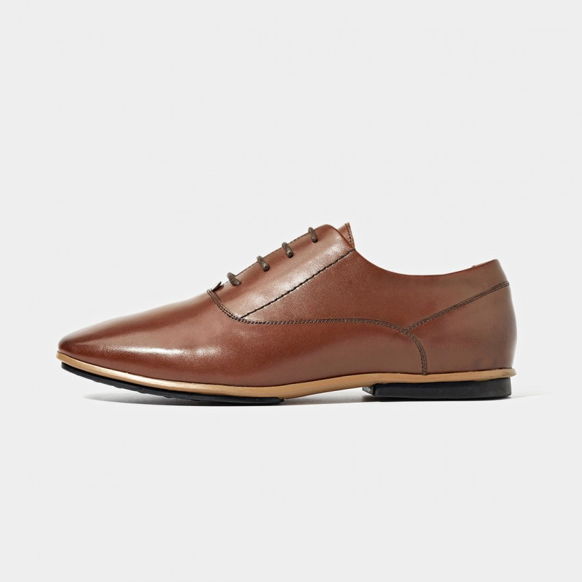 Buy Beau Plain Leather Acccent Sole Brown Lace Ups online, shop Beau with free shipping