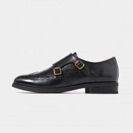 Beau Brogued Double Monkstraps Black Loafers (21097)