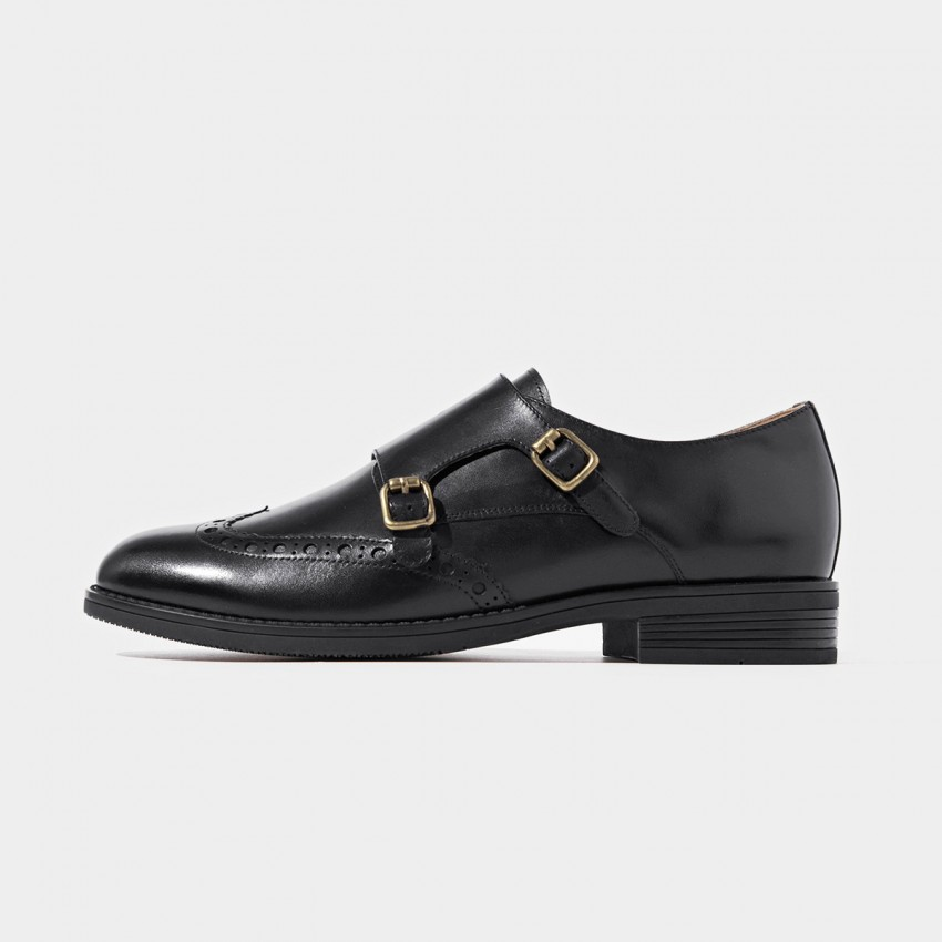 Buy Beau Brogued Double Monkstraps Black Loafers online, shop Beau with free shipping