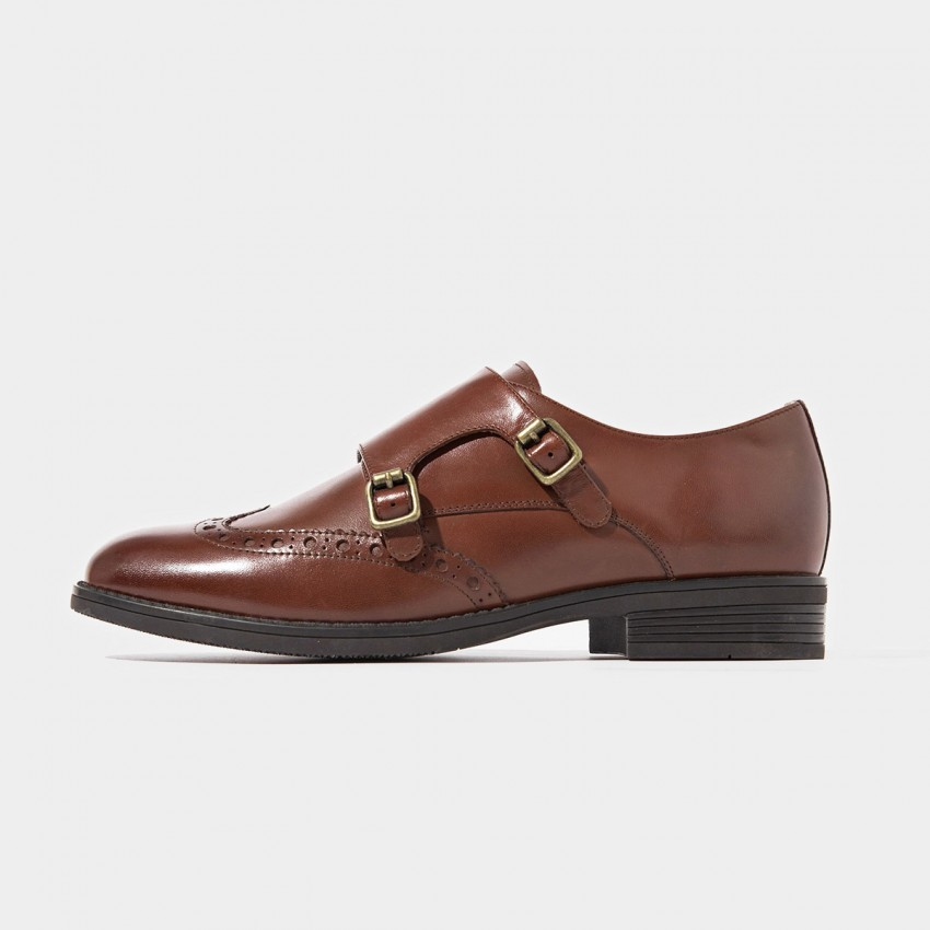 Buy Beau Brogued Double Monkstraps Brown Loafers online, shop Beau with free shipping