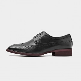 Beau Square Toe Oxford Contrasting Sole Black Lace Ups (21098)