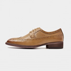 Beau Square Toe Oxford Contrasting Sole Brown Lace Ups (21098)