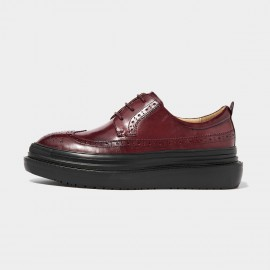 Beau Modern Platform Oxford Red Lace Ups (21403)