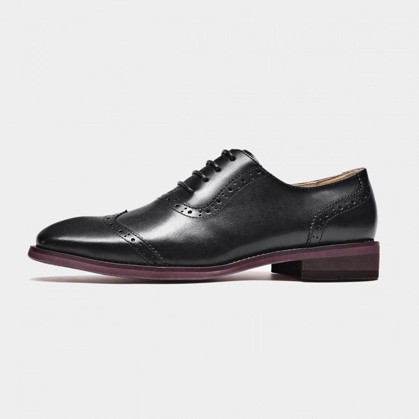 Buy Beau Quarter Brogued Oxford Gradient Sole Black Lace Ups online, shop Beau with free shipping