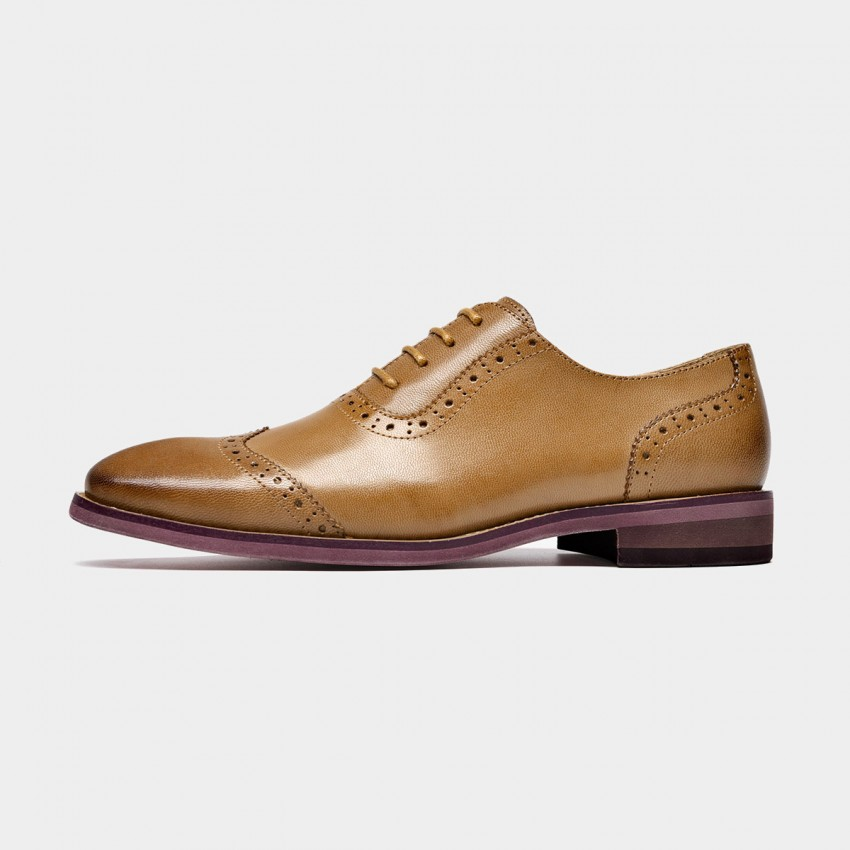 Buy Beau Quarter Brogued Oxford Gradient Sole Brown Lace Ups online, shop Beau with free shipping