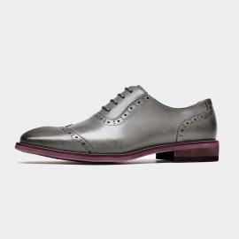 Beau Quarter Brogued Oxford Gradient Sole Grey Lace Ups (21409)