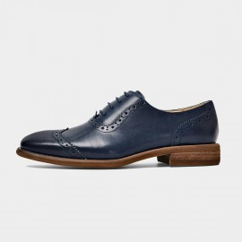 Beau Gradient Oxford Wood Grain Heel Navy Lace Ups (21412)