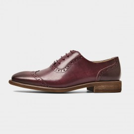 Beau Gradient Oxford Wood Grain Heel Wine Lace Ups (21412)
