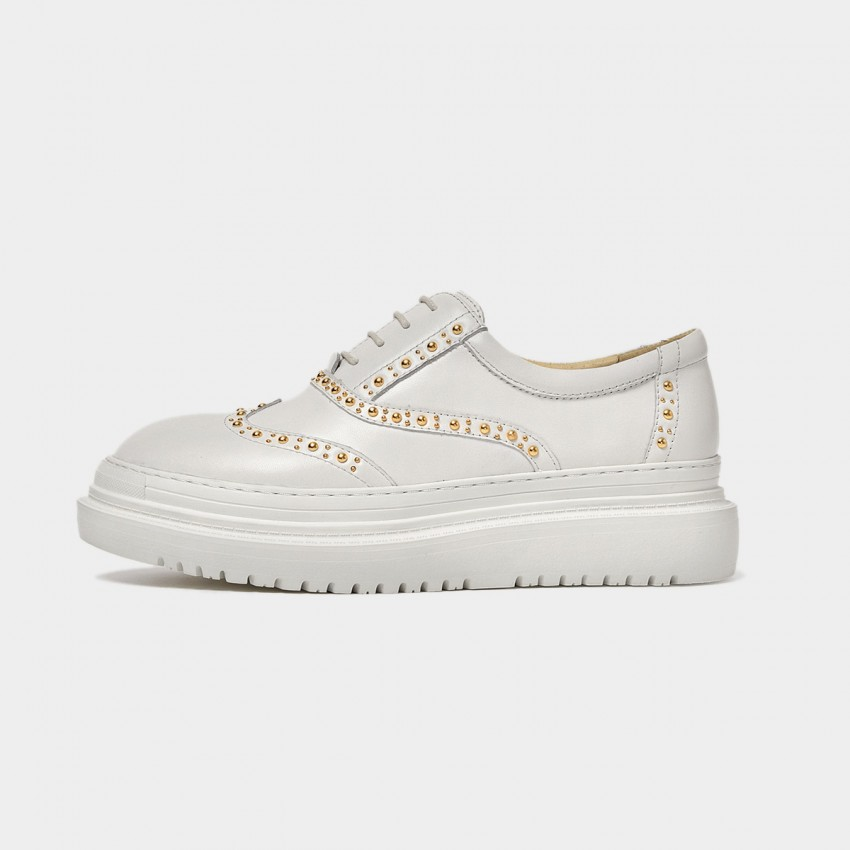 Buy Beau Chic Gold Studs Platform White Lace Ups online, shop Beau with free shipping