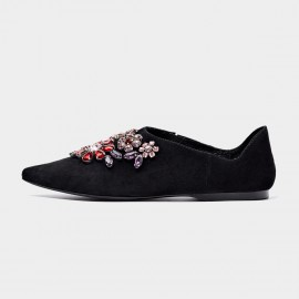 Beau Pointed Toe Exquisite Jewel Suede Black Flats (24003)
