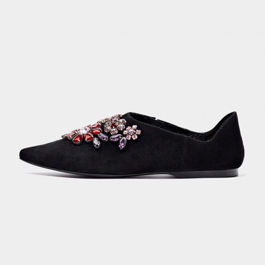 Buy Beau Pointed Toe Exquisite Jewel Suede Black Flats online, shop Beau with free shipping