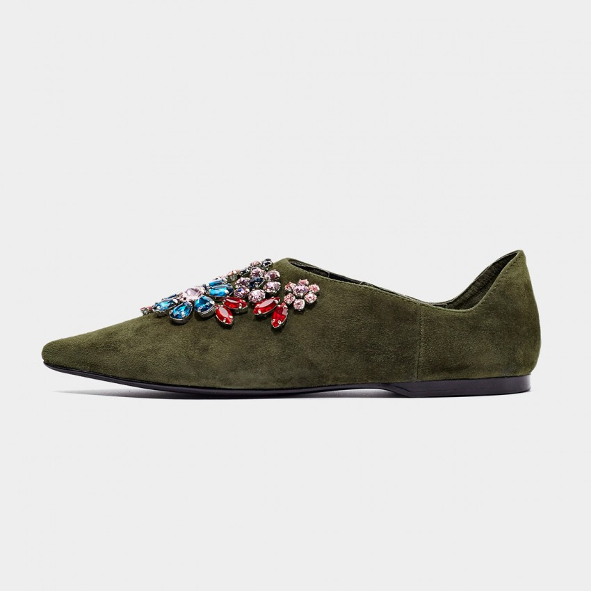 Buy Beau Pointed Toe Exquisite Jewel Suede Green Flats online, shop Beau with free shipping