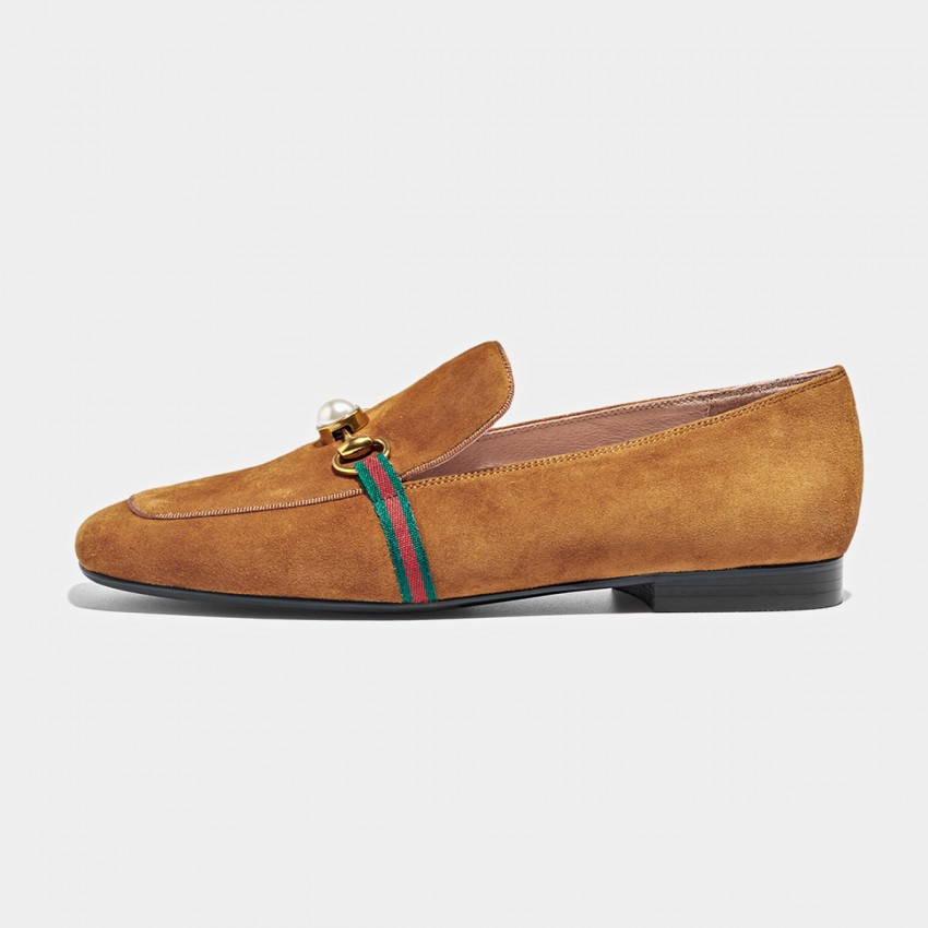 Buy Beau Pearl Horsebit Suede Brown Loafers online, shop Beau with free shipping