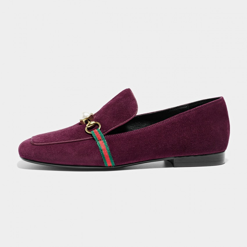Buy Beau Pearl Horsebit Suede Wine Loafers online, shop Beau with free shipping