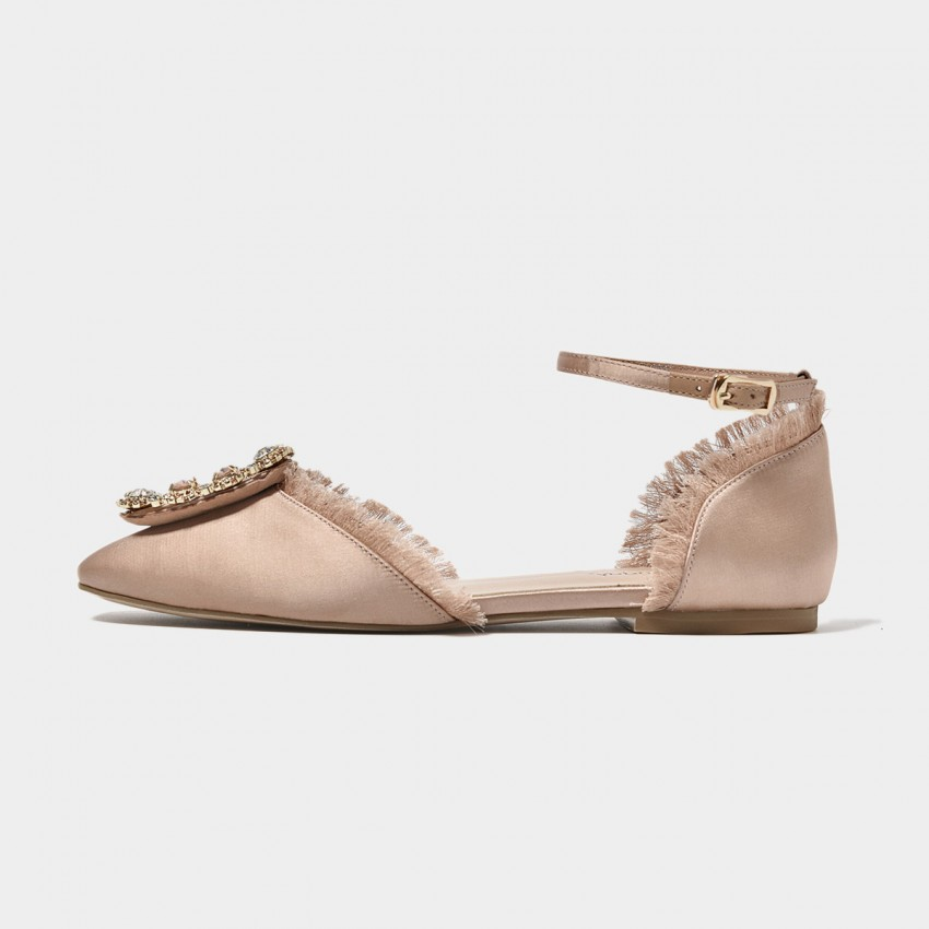 Buy Beau Satin Strap Gemstones Fringed Pink Flats online, shop Beau with free shipping