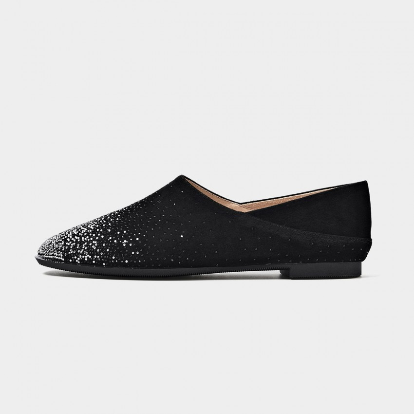 Buy Beau Scattered Gradient Gemstones Black Flats online, shop Beau with free shipping